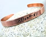 Allons-y Hand Stamped Doctor Who Inspired Copper Bracelet, Adjustable, a Foxwise Original