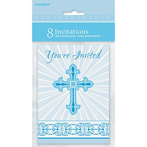 Radiant Cross Blue Religious Invitations, 8ct (Cross Religious Invitations)