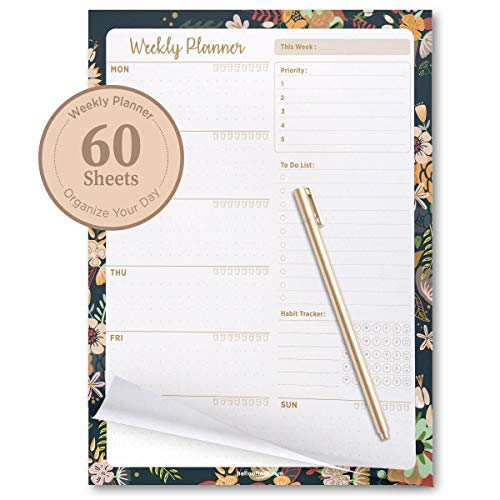 (Oriday Weekly Planners Premium Task Organizer Pad - 60 Sheets - Undated Planning System with Priorities, to-do List, Memo and Habit Trackers & Tear-Away Notepad, Water Intake Tracker - 8.5