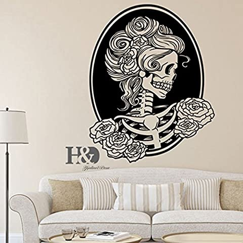 AA Removable Skull Head Tattoo Horror Zombie Vinyl Wall Decal Sticker Home Decor - Aqua Stripe Wall Sconce
