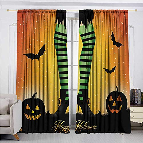 DESPKON-HOME DIY Curtain for Living Room,Halloween Cartoon Witch Legs with Striped Leggings Western Concept Bats and Pumpkins Print Soft Darkening Curtains (96W x 72L inch,Multicolor) -