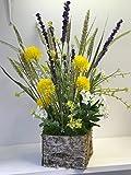 Artificial Flower Arrangement, English Heath Cornflower & Wild Flower Display, Bark Pot