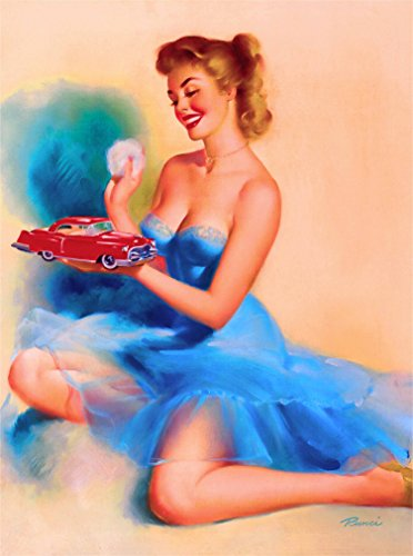 (A SLICE IN TIME 1940s Pin-Up Girl The Toy Red Car Vintage Picture Poster Print Art Pin Up. Measures 10 x 13.5 inches)