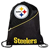 FOCO Pittsburgh Steelers High End Diagonal Zipper Drawstring Backpack