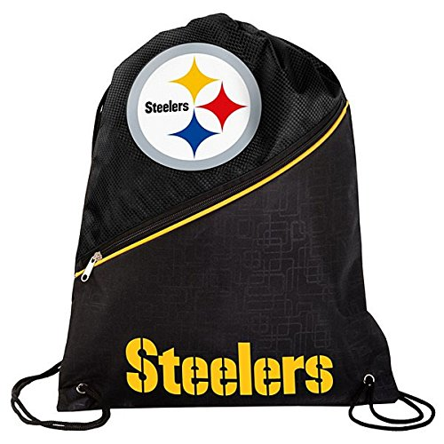 FOCO Pittsburgh Steelers High End Diagonal Zipper Drawstring Backpack by FOCO