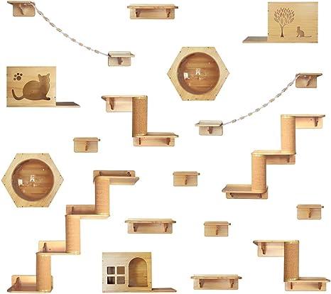 DJLOOKK Árbol rascador para Gatos Gato Escalada Marco Sólido Colgante de Pared de Madera Espacio Gato Gato Plataforma de Salto Gato Litter Pared Columna de sisal Gato Rascarse Gato Juguete,A: Amazon.es: Deportes