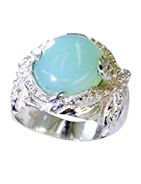 Jewelryonclick Natural Blue Chalcedony Silver Wedding Ring Jewelry Chakra Healing Size 5,6,7,8,9,10,11,12