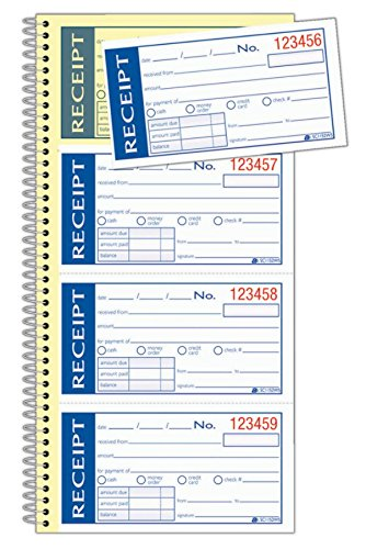 Adams Write n' Stick Receipt Book, 2-Part, Carbonless, White/Canary, 5-1/4