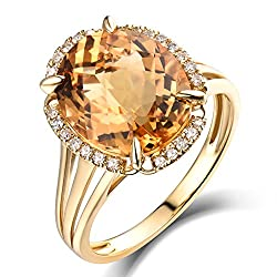 Rose Gold Natural Citrine Ring