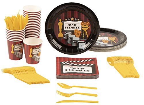 Disposable Dinnerware Set - Serves 24 - Hollywood Party Supplies for Kids Birthdays, Movie Nights, Includes Plastic Knives, Spoons, Forks, Paper Plates, Napkins, Cups