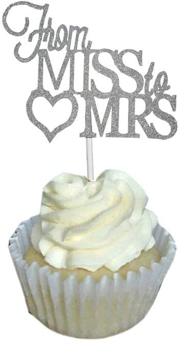 Wedding cupcake toppers Mrs and Mrs Confetti Glitter cupcake toppers Mrs and Mrs cupcake toppers
