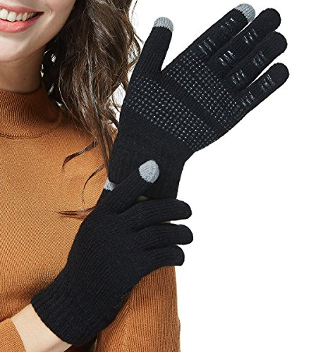 LETHMIK Mens&Womens Non-Slip Touchscreen Gloves Winter Warm Knit Wool Lined Texting Glove...