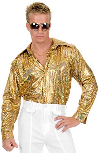 Gold Glitter Hologram Disco Shirt Costume - X-Small - Chest Size 36 (70s Disco Gold Adult Costume)
