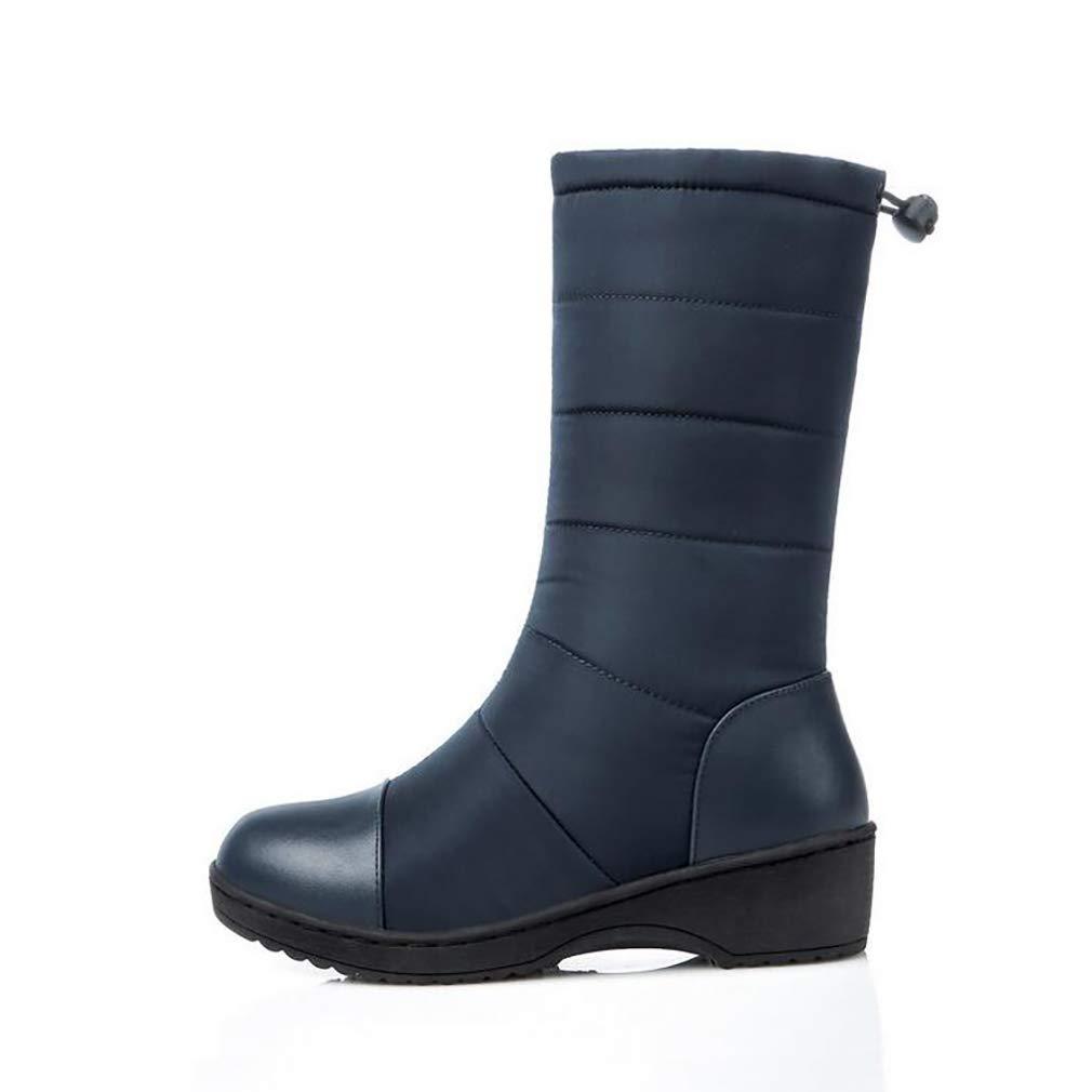 Hy Frauen Stiefel Winter Künstliche PU Warm Plus Kaschmir Schnee Stiefel Stiefel/Damen Daunen Wasserdichte Winterstiefel/Flache Ferse Stiefelies/Stiefeletten (Farbe : Blau, Größe : 39)