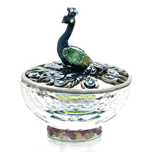 Blue/Green Peacock Jewelry Trinket Box w/Crystal Base - Peacock Blue Crystal