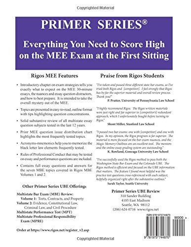 Rigos Primer Series Uniform Bar Exam (UBE) Review Multistate Essay Exam (MEE): 2018 Edition