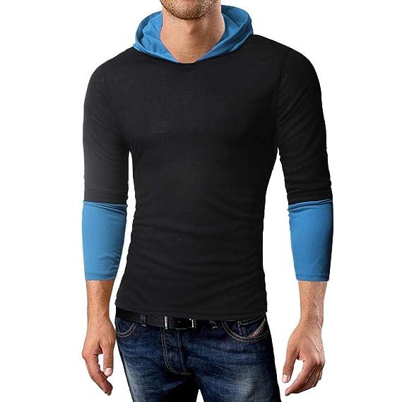 Camisetas de Manga Larga con Capucha de Color sólido en otoño e Invierno  para Hombre Sujetador 9c1108e44be1e
