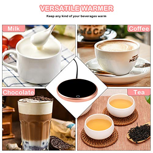 Coffee Mug Warmer, Yatuela Electric Beverage Warmer Plate with 3 Adjustable Modes Up to 60℃,Touch Tech&LED Backlit Display, Automatic Shut Off for Office Home Use (Tea,Water,Cocoa,Soup or Milk) Pink by Yatuela (Image #4)