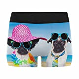 InterestPrint Men's All-Over Print Boxer Briefs Couple of Pug Dogs on on Summer Vacation Holidays at The Beach with Sunglasses and Funny Hat L