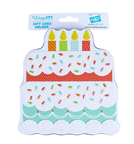(Wrap IT Cake Shaped Gift Card Holder Tin, 4.5 x 5 x .75 Inches,)