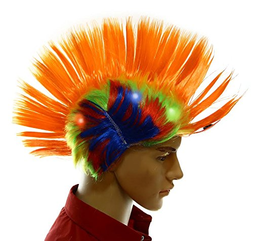 Dazzling Toys Wiggling Punk Blinking LED, Orange and Colored Wig. One per (Pep Rally Costume Ideas)