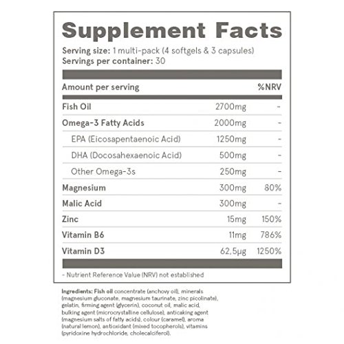 Puori3 Multipack O3+M3+D3 [Omega 3 Organic Softgels, Vitamin D3 Gelcaps, Magnesium Caps]210 Capsules(60 Omega3,60 VitaminD3,90 Mg+Zn+B6)