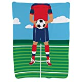 Guy's Soccer Player Baby Blanket | Baby Blanket by ChalkTalkSPORTS | Medium Skin Tone