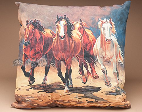 Mission Del Rey Southwest and Western Home Decor Collection - Running Horses Pillow