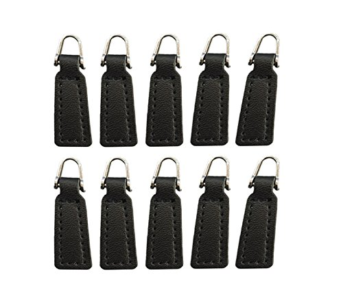 Leather Zipper Pull - Z-COLOR 10 pack Leather Zipper Pull For Boot/Jacket/Bag/Purse Replacement and Production (Black)