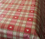 Sweetheart Check RED PVC Vinyl Oilcloth Tablecloth by Karina Home 200 x 137cm
