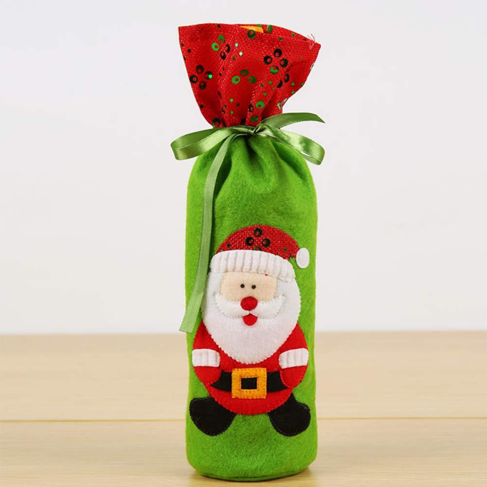 SWED72Housse de Bouteille de vin de Noël, Noël Père Noël Rouge Bouteille de Vin Couverture Sacs Table de Noël dîner Décoration Maison Fête Résidence Universitaire, Santa Claus, Taille Unique