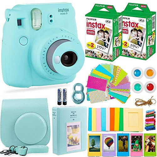 Fujifilm Instax Mini 9 Instant Camera + Fuji Instant Film (40 Sheets) + Accessories Bundle – Carrying Case, Color Filters, Photo Albums, Assorted Frames, Selfie Lens plus more (Ice Blue) (Renewed)