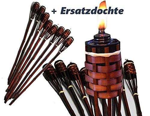 8 Stück Bambusfackel braun mit verblendeter Lampenfassung Gartenfackel 90 cm ,mit eingesetztem Docht inklusive Ersatzdochte ( Fackel + Ersatz Docht )