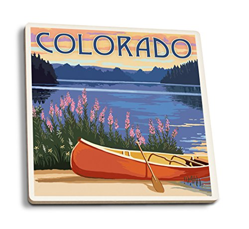 Colorado - Canoe and Lake (Set of 4 Ceramic Coasters - Cork-Backed, Absorbent)