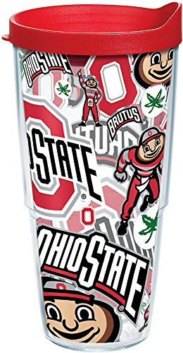 Tervis 1258230 NCAA Ohio State Buckeyes All Over Tumbler With Lid, 24 oz, Clear - Buckeyes State Beverage Ohio