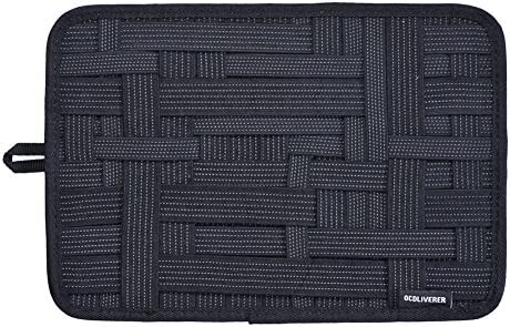 OCDLIVERER Grid Electronics Organizer Board, 12 x 8 in, with Upgraded Elastic for Backpack Organizer, Desktop IT Organizer, Travel Gear Organizer with Slider Back Pocket (Medium, Black) …