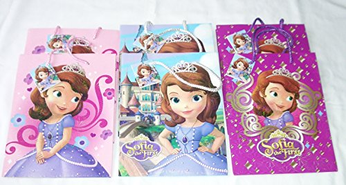 6 pieces Disney PIXAR Nickelodeon Birthday Goody Gift Loot Favor Bags Party Supplies (Sofia the First) ()