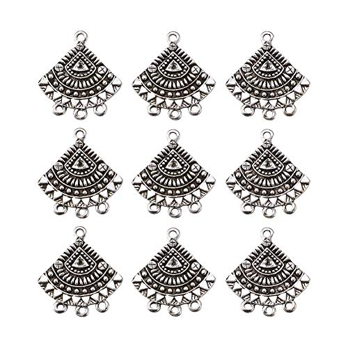 - Beadthoven 10pcs Antique Silver Tibetan Style Filigree Fan Chandelier Component Links for Dangle Earring Making Jewelry Charms Home Decoration Supplies Lead Free & Cadmium Free, 26x24x1.5mm Hole:2mm