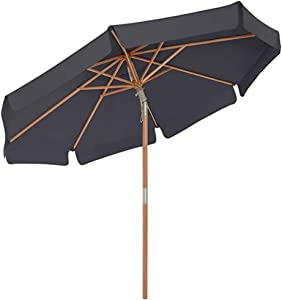ZXYY Garden Umbrella Wooden Rod and Ribs Inclination Mechanism Base not Included Octagonal Umbrella with UPF 50+ Protection for Balcony Terrace Garden Outdoor Beige 300 cm-Taupe