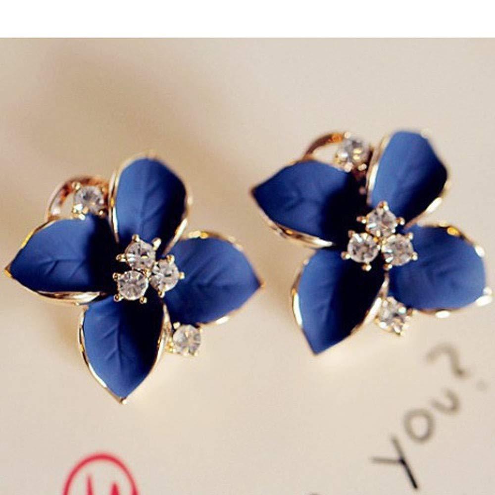 DZT1968  New Elegant Blue Camellia Flower Charm Crystal Stud Earrings