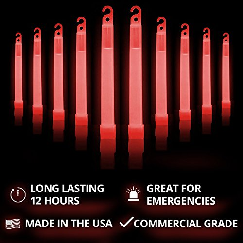 Large Product Image of Cyalume SnapLight Red Glow Sticks – 6 Inch Industrial Grade, Ultra Bright Light Sticks with 12 Hour Duration (Pack of 10)