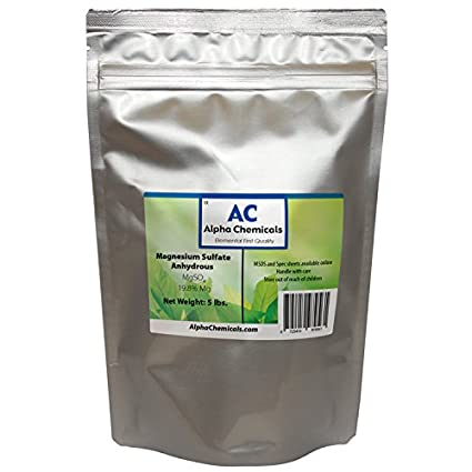 Magnesium Sulfate Anhydrous - 19.8% Mg, 26% Sulfur - 5 Pounds
