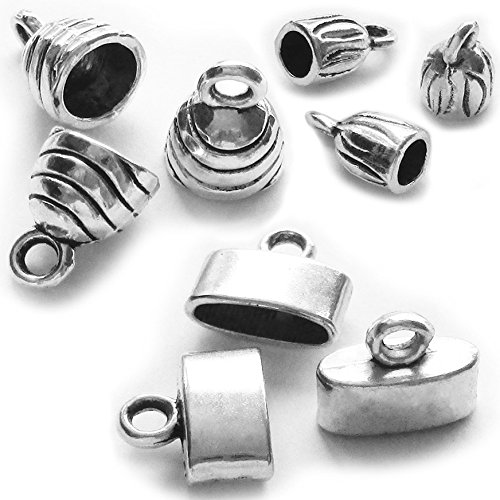Heather's cf 90 Pieces Silver Tone Zinc Alloy Tibetan Necklace Cord Crimp End Caps Combination - Open End Base