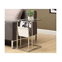 Monarch Specialties Metal Accent Table with Magazine Holder, White/Chrome