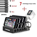 COSOOS Charging Station with 5 lphone Cables,1 Type-C,1 Micro B Cable,iWatch Holder,6-Port USB Charger Station,Charging Docking Stand,Best Electronics Organizer for Multiple Devices,Phones,Tablets