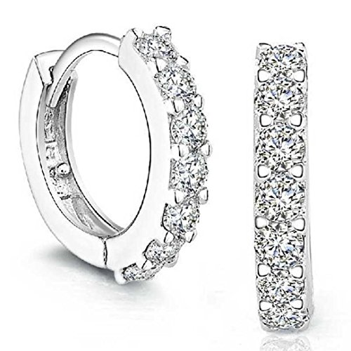 Lanhui Earrings for Women Fashion, Mother's Day Jewelry 925 Sterling Silver Rhinestones Hoop Diamond Stud (as Shown, 925 Sterling Silver)