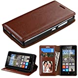 NageBee Leather Wallet Flip Case with Microfiber Cleaning Cloth for Microsoft Lumia 435 Unlocked, Leather Wallet Brown