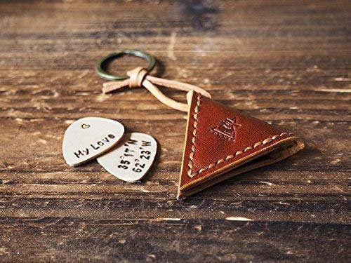 Leather Guitar Pick Holder - Unique Valentine's day Gift for Him Musician, Handmade Men's Gift, First Personalized Engraved Leather Pick for Free, Keychain, Guitar Pick Case #Whiskey Brown (Personalized Leather Engraved)