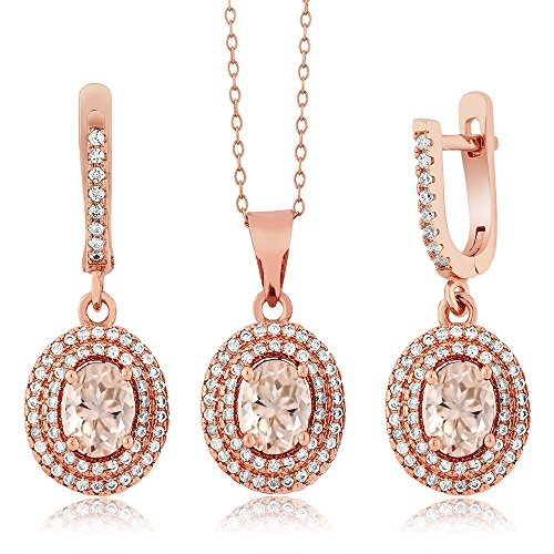 3.58 Ct Oval Peach Morganite 18K Rose Gold Plated Silver Pendant Earrings Set by Gem Stone King