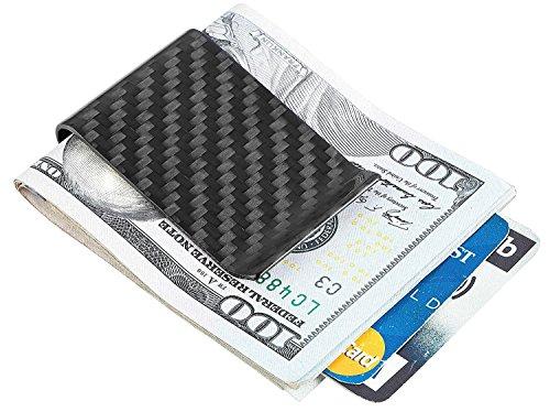 Travelambo Carbon Fiber Money Clip Front Pocket Wallet Minimalist Wallet Slim Wallet Credit Business Card Holder (CB black) - Double Money Clip